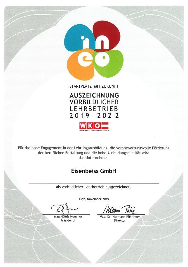 INEO-Auszeichnung, Zertifikat, Lehre bei Eisenbeiss